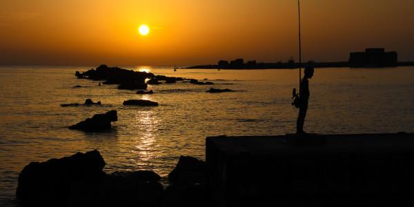 Panoramabild - Sonnenuntergang im Hafen von Paphos