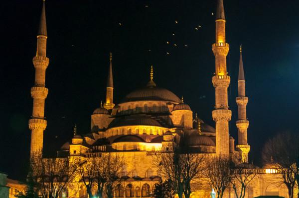 Moschee Sultan Ahmet in Istanbul bei Nacht