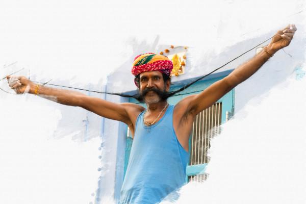 Sikh mit langem Bart