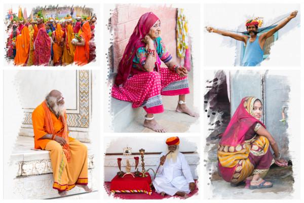 Collage Indische Einheimische