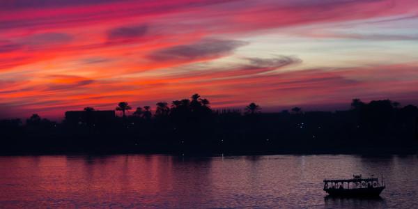 Panoramabild - Sonnenuntergang auf dem Nil