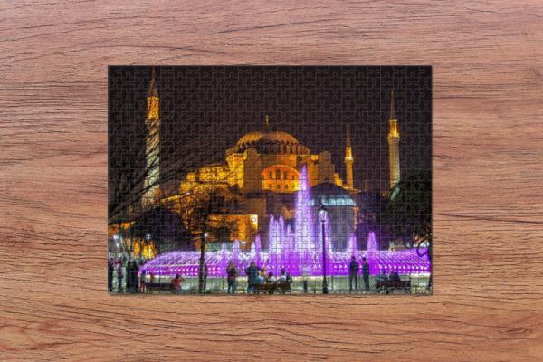 Fotopuzzle - Hagia Sophia bei Nacht